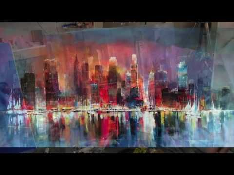 Abstract blending and straight lines, timelapse speedpainting in acrylic - YouTube