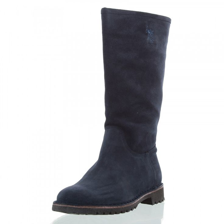 U.S. POLO ASSN. Damen Stiefel Flick, Leder, Absatz 3 cm, dunkelblau