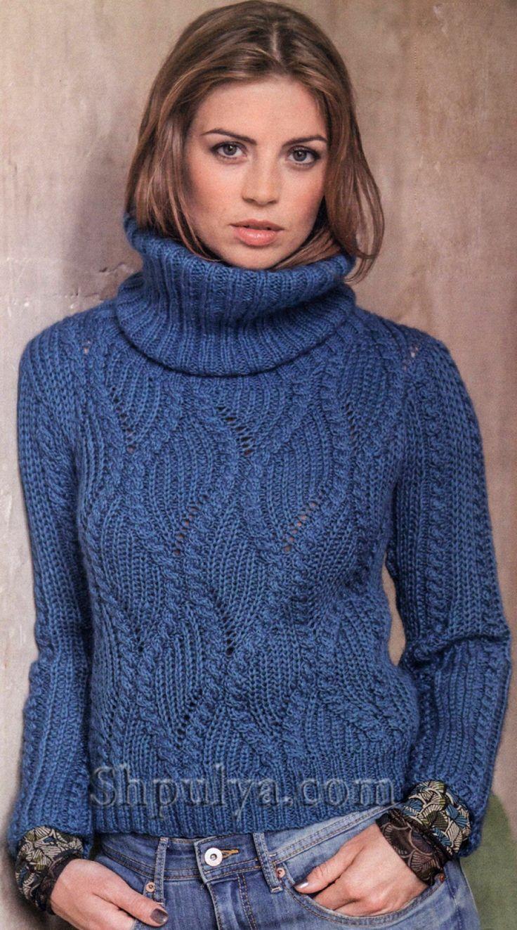 Синий вязаный пуловер с патентным узором