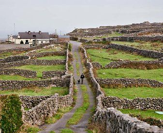 Stone walls on Inis Meain. Middle island in Galway Bay on the west coast of Ireland. Population about 160. Predominantly Irish-speaking (Gaeltacht)