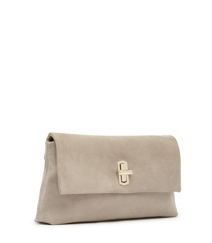 Womens Neutral Suede Clutch - Reiss Lovello
