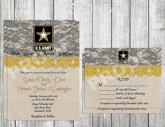 Army Wedding Invitations: Wedding Printable Invitation And RSVP