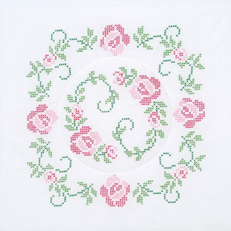 "Stamped White Quilt Blocks 18""X18"" 6/Pkg-XX Circle Of Roses"