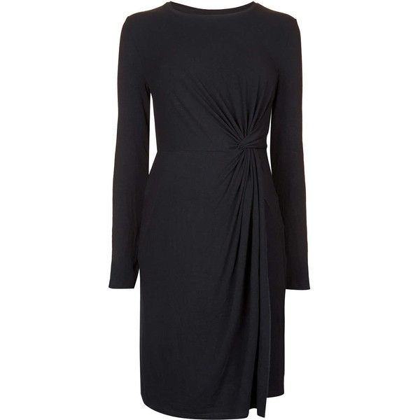TopShop Maternity Knot Front Dress ($43) ❤ liked on Polyvore featuring maternity and black