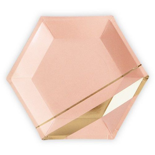 The gold and blush color scheme of this modern, chic and on trend, these gorgeous paper plates make entertaining easy and elegant. Beautiful gold stripes combine with the softest blush hue for a polished take on disposable tableware. Ideal to combine with our hexagon paper plates and gold foil napkins for a coordinated party scheme.