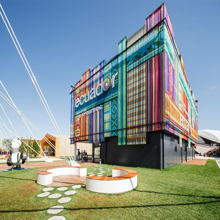 Embodying the essence of Ecuador's culture and life is the vibrant curtain of the rainbow pavilion. Made out of rope-like aluminium textiles, the Pavilion appears as if it is covered in a giant vivid quilt. #color #travel #world #exterior #Ecuador #rainbow #textile