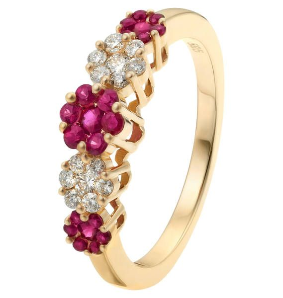 Fabiani Z&E Diamant-Ring Gold 585 Rubin Rot