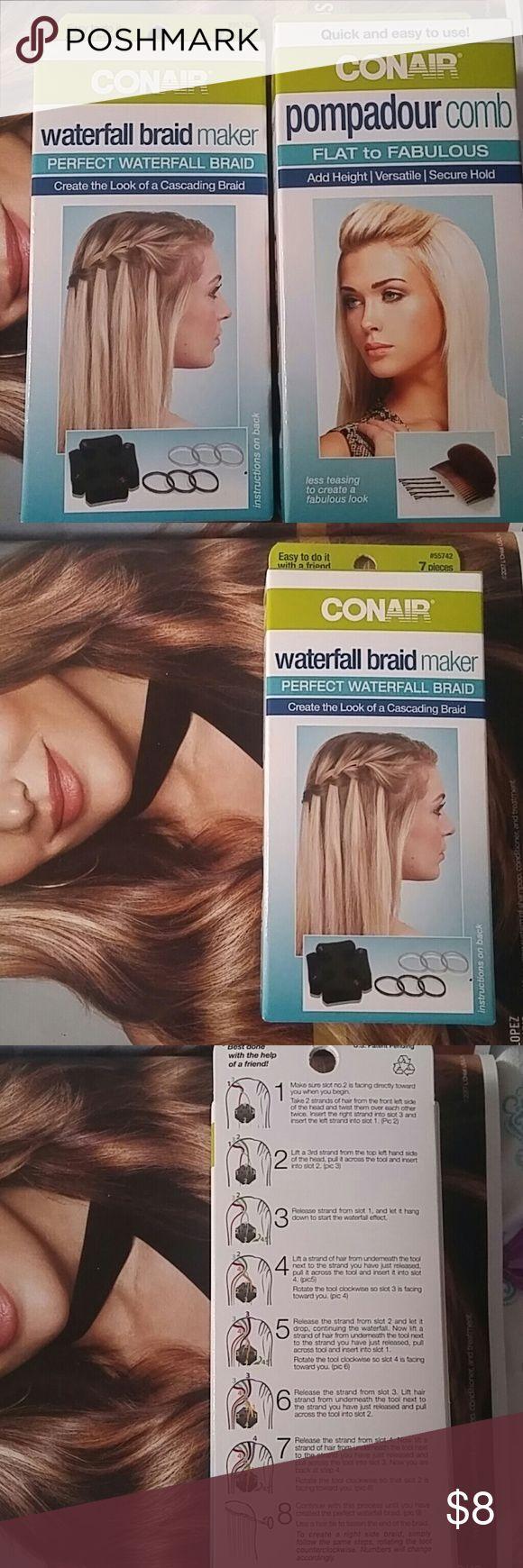 NIB Conair Waterfall Braid & Pompadour Hair Tools NIB Conair Waterfall Braid Maker NIB Conair Pompadour Comb Hair Tools Conair Accessories Hair Accessories