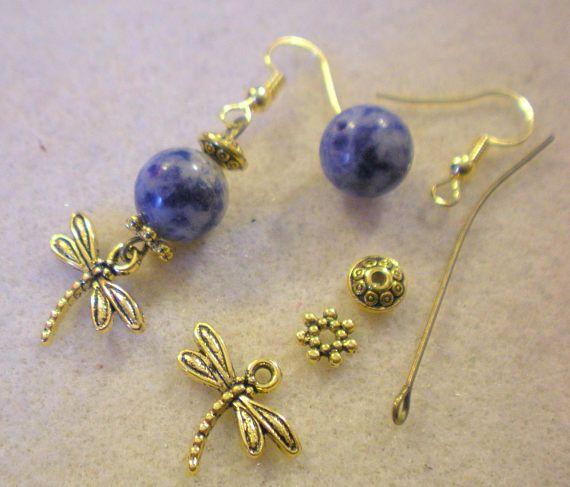 Schnallen Ohren Kit blaue Libelle goldener Haken