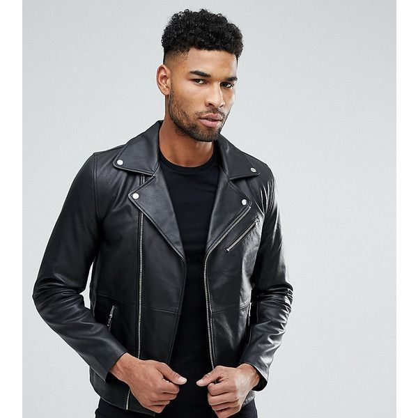 ASOS TALL Leather Biker Jacket In Black (£105) ❤ liked on Polyvore featuring men's fashion, men's clothing, men's outerwear, men's jackets, black, mens leather jackets, asos mens jackets, mens leather moto jacket, mens zip jacket and mens real leather jackets