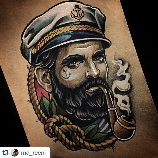 """""""Mi piace"""": 59, commenti: 1 - Drawing for Tattoo (@drawingfortattoo) su Instagram: """"Follow/siga @skavinsk  @ma_reeni  #wannado #tattoosketch #drawing #seaman #sea #sealovers #ink #art…"""""""