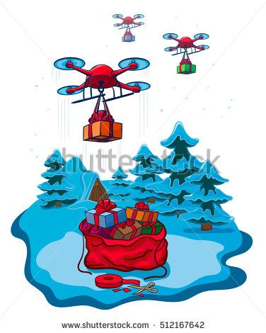 Drones Delivery Presents, New Year Christmas Holiday Vector Illustration Isolated