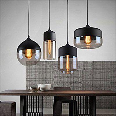 Ferand Modernes Glas-Leuchter-Deckenleuchte Pendelleuchte Coffee Bar Deco Fixture, Schwarz, Wohnung