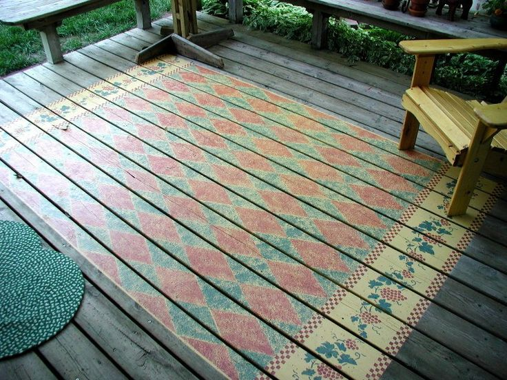 Rug Stenciled On An Outdoor Deck.