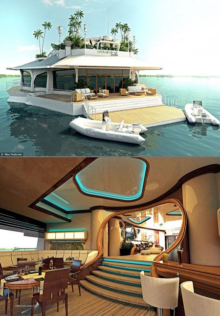 Osros: The Ultra Luxurious Boat That Looks Like a Floating Island - TechEBlog - FORGET the beachhouse!! THIS is COOL!