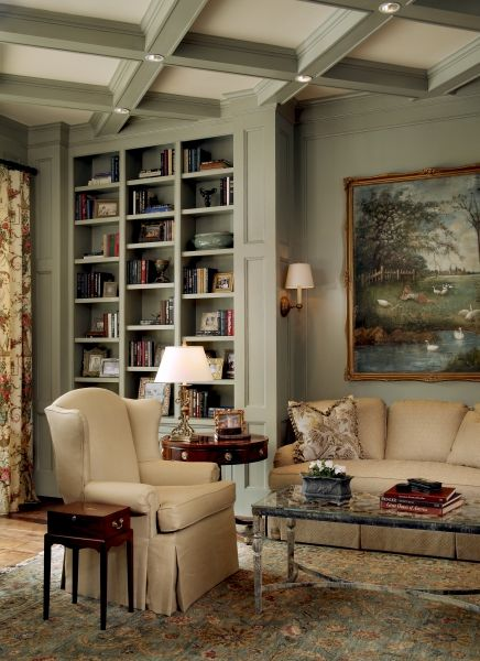 Bookshelves Create Sofa Nook Complete With Lighting Sage Color Is Relaxing