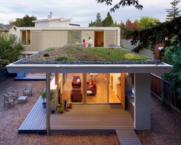 grünes dach moderne architektur kieselsteine