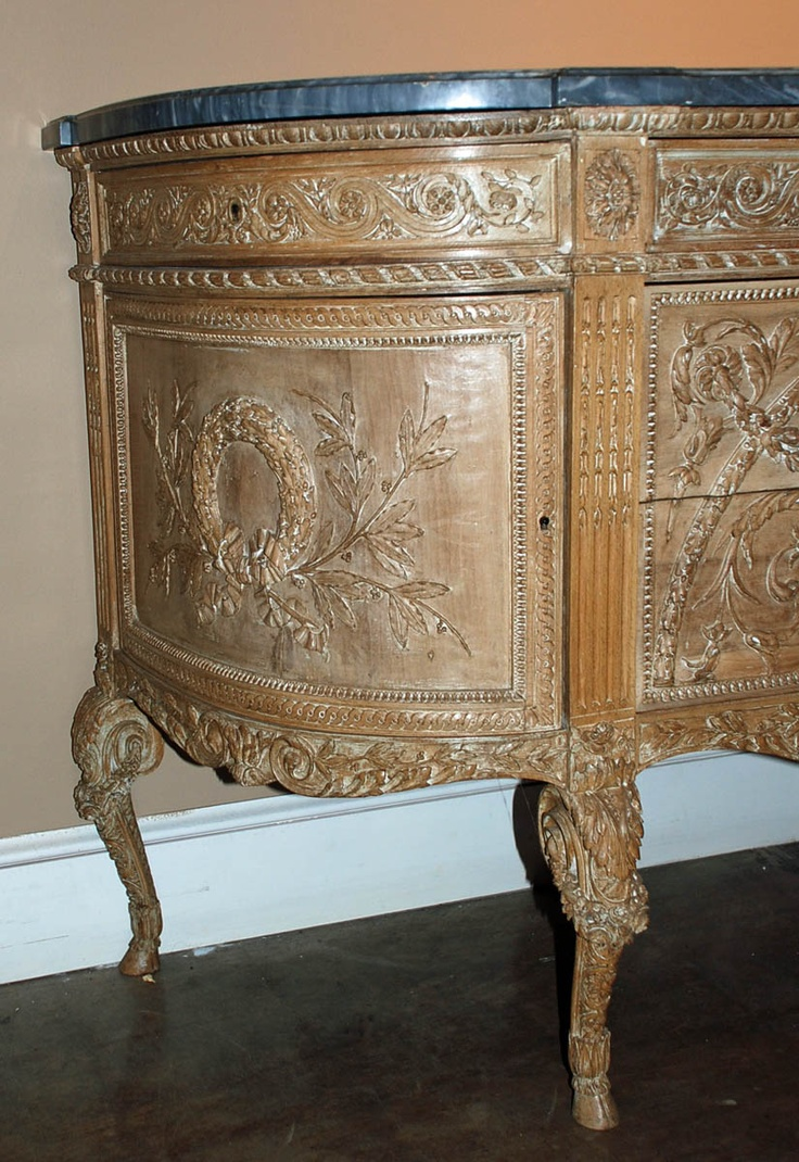 Antique glass flower carvings sideboard crown french furniture - French Walnut Server