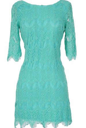 Vintage-Inspired Lace Overlay Dress in Turquoise I think this is also out of stock but I like it