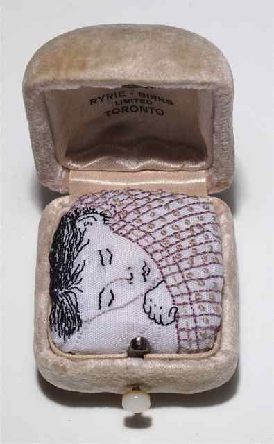 valerie knapp: Boxed Embroidery at David Kaye Gallery Dream #4.  Hand embroidery on cotton  sheeting. Vintage Ryrie-Birks ring box. Boxed Embroidery Series ©