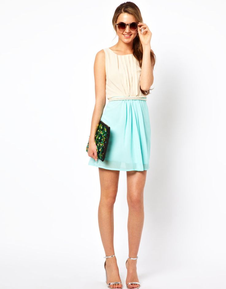 Club L Colourblock Dress With Rope Tie (Cream / Mint) UK 12 at Asos RRP £35.00
