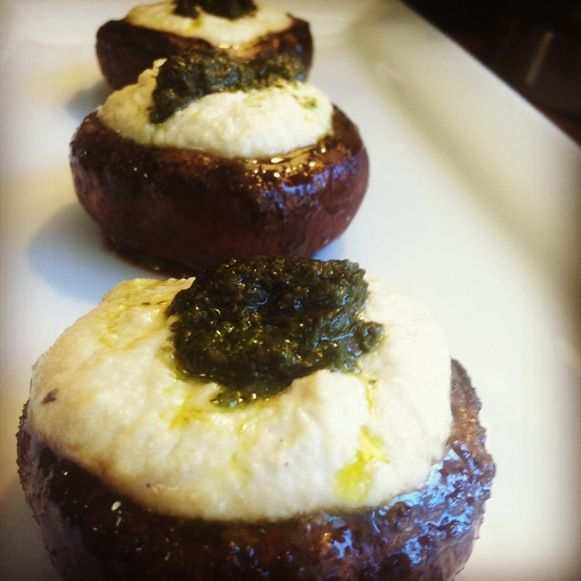 Vegan Marinated Portobellos With Cashew Cheese and Pesto.