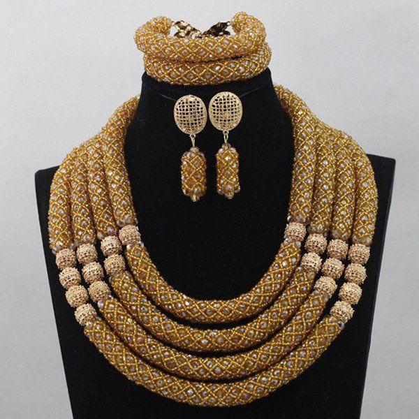 African Jewelry Set Big Flower Pendant Engagement Necklace Set