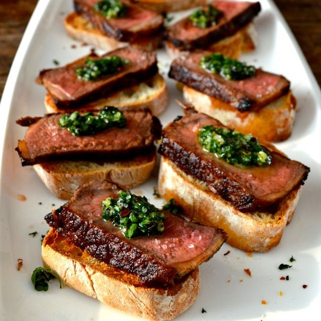 Steak Pinchos Topped with Chimichurri