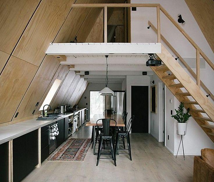 Modernes Finnhaus Interieur Küche Essbereich Holztreppe #hotel #design # Modern