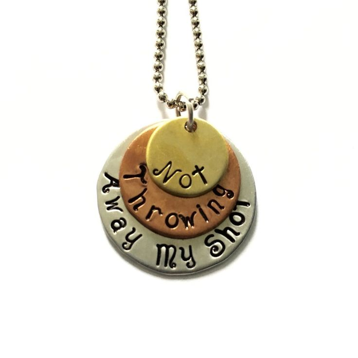 """*Note: Due to high demand, delivery time is now 9 days or less. Limited supply. Hamilton """"Not Throwing Away My Shot"""" Necklace Tri-Layer brass, copper, and aluminum necklace with an 18"""" aluminum chain."""