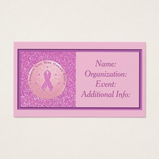 Breast Cancer Pink Ribbon Glitter Business Card 3