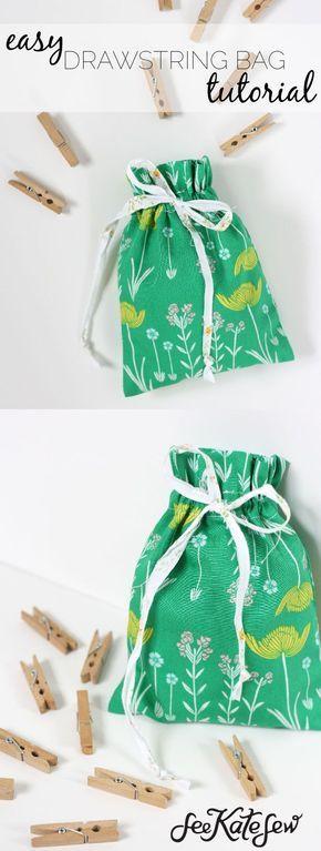 Easy Drawstring Bag Tutorial | diy drawstring bag | how to sew a drawstring bag | easy sewing projects | diy drawstring bag pattern || See Kate Sew #diybag #easysewingproject #sewingpattern