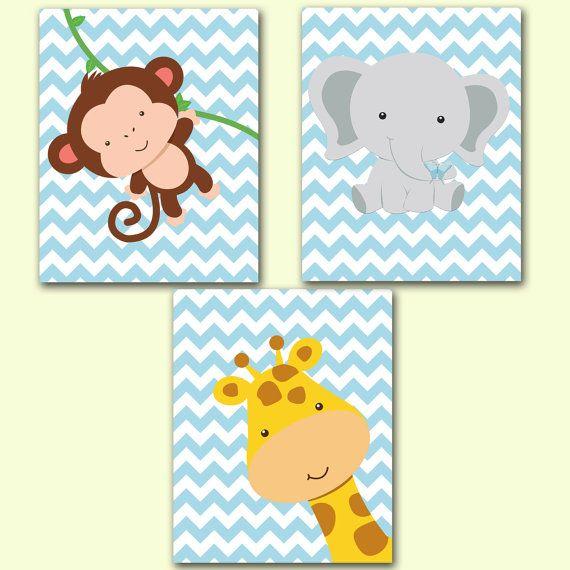 Giraffe Monkey Elephant Chevron BABY BLUE Nursery Room Decor Printable Wall art Jungle Animals Set 8x10 Digital JPEG File High Res300dpi119