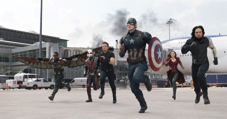 Captain America: Civil War : Photo Anthony Mackie, Chris Evans, Elizabeth Olsen, Jeremy Renner, Paul Rudd