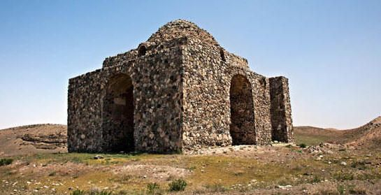 IRAN - Bazeh Khur Fire Temple, Khorasan. One of the oldest Chahar-Taqi temples from the Parthian era 247 BCE-224 CE. 80 km s of Mashhad & at Robat Sefid Village's edge
