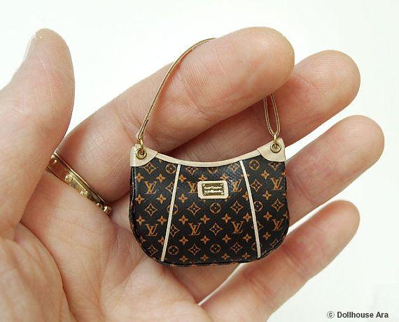 Dollhouse Miniatures (L11) LV Designer Handbags 1/12 handmade Bag