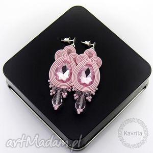 kolczyki soutache licira powder pink, sutasz, soutache, roamntyczne biżuteria