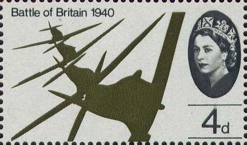 25th Anniversary of Battle of Britain 4d Stamp (1965) Flight of Supermarine Spitfires