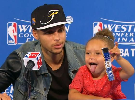 Stephen Curry's Tot Steals The Spotlight -- Again! - http://site.celebritybabyscoop.com/cbs/2015/05/28/stephen-currys-steals-spotlight #NBA, #NBAFinals, #Rileycurry, #Stephencurry