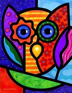 Owls Painting - Garden Owl by Steven Scott