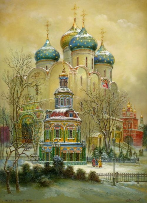 Gold domes of Russia - Fedoskino lacquer boxes. Version One - Winter