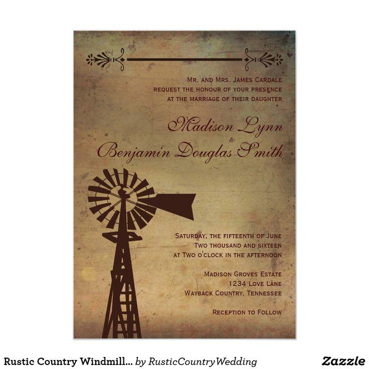 Rustic Country Windmill Farm Wedding Invitations 13