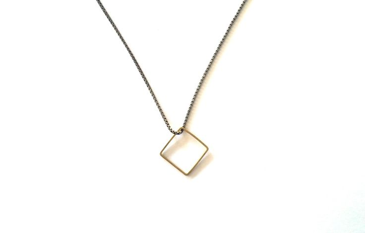 Necklace black silver with brass square