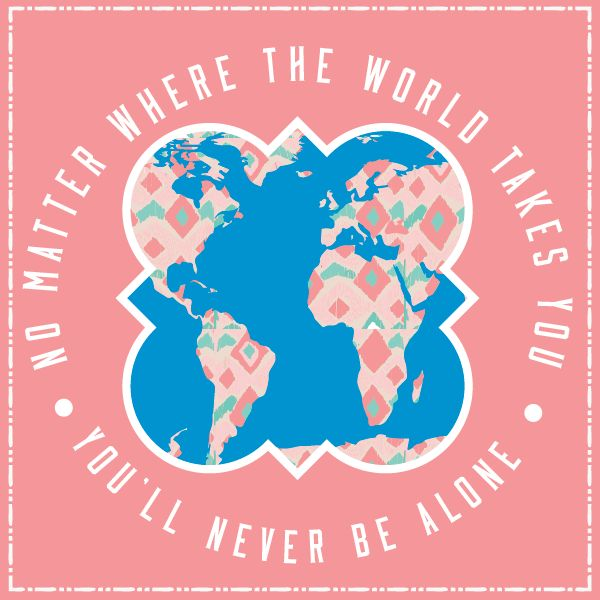 No matter where the world takes you, you'll never be alone. Geneologie | Greek Tee Shirts | Greek Tanks | Custom Apparel Design | Custom Greek Apparel | Sorority Tee Shirts | Sorority Tanks | Sorority Shirt Designs  | Sorority Shirt Ideas | Greek Life | Hand Drawn | Sorority | Sisterhood | Phi Mu | Seniors | World Map | Quatrefoil