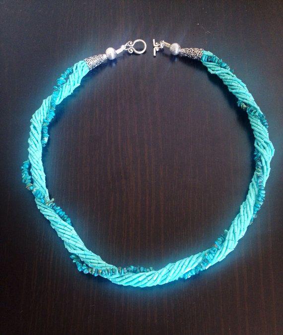Blue bead necklase on Etsy, $16.50