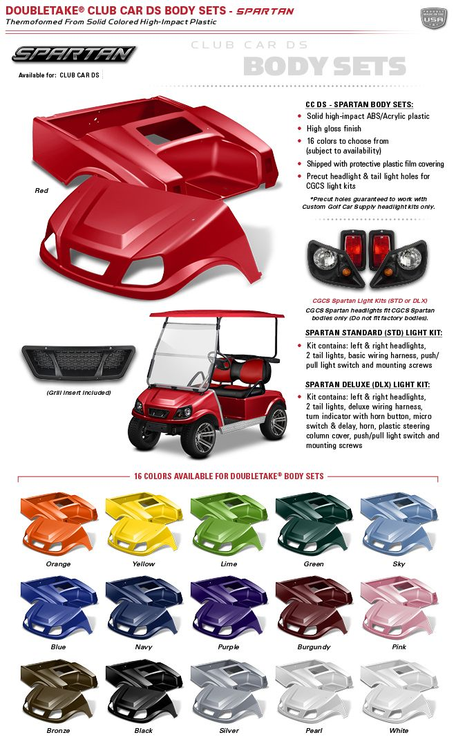 DoubleTake Golf Car - Club Car DS - SPARTAN Body Sets - ***NEW***