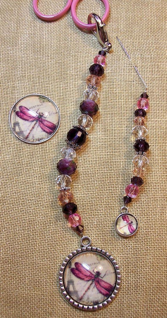 Dragonfly in Pink & Purple- Scissor Fob, Needle Minder and Frogger for scissors, bag, purse, stitchers