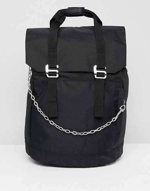 Backpack with chain detail and double strap and internal laptop pouch