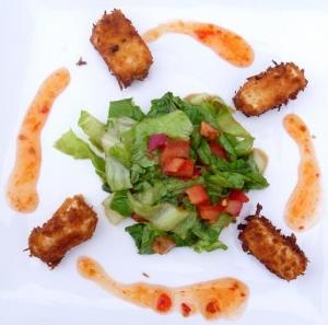 tofu crujiente con un ligero toque picante