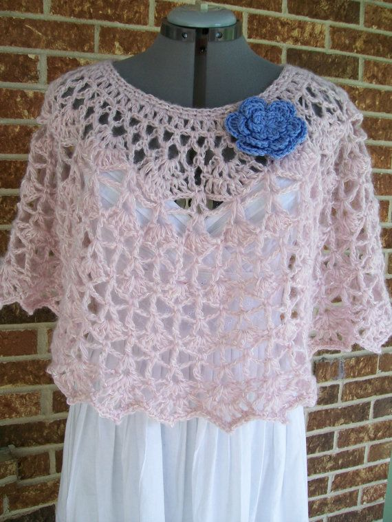 Lacy Crochet Capelet Cover Up Poncho Shoulder Wrap Stole